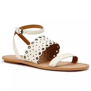 COACH Flat Sandal Clarabel Studded Ankle Strap 9.5